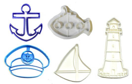 Nautical Boat Anchor Sailboat Lighthouse Ocean Set 5 Cookie Cutter 3D US... - $12.99