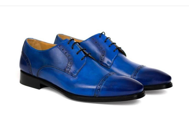 Handmade Men's Blue Burnished Two Tone Slip Ons Dress/Formal Oxford Leather Shoe