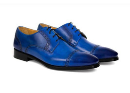 Handmade Men's Blue Burnished Two Tone Slip Ons Dress/Formal Oxford Leather Shoe image 1