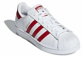 Adidas Original White Red Leather Sneaker J Junior 5 M Supestar CG6609 Low New - $38.66