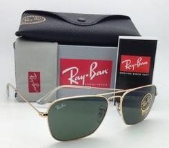 New RAY-BAN Sunglasses CARAVAN RB 3136 001 58-15 Arista Gold w/ G15 Green Lenses
