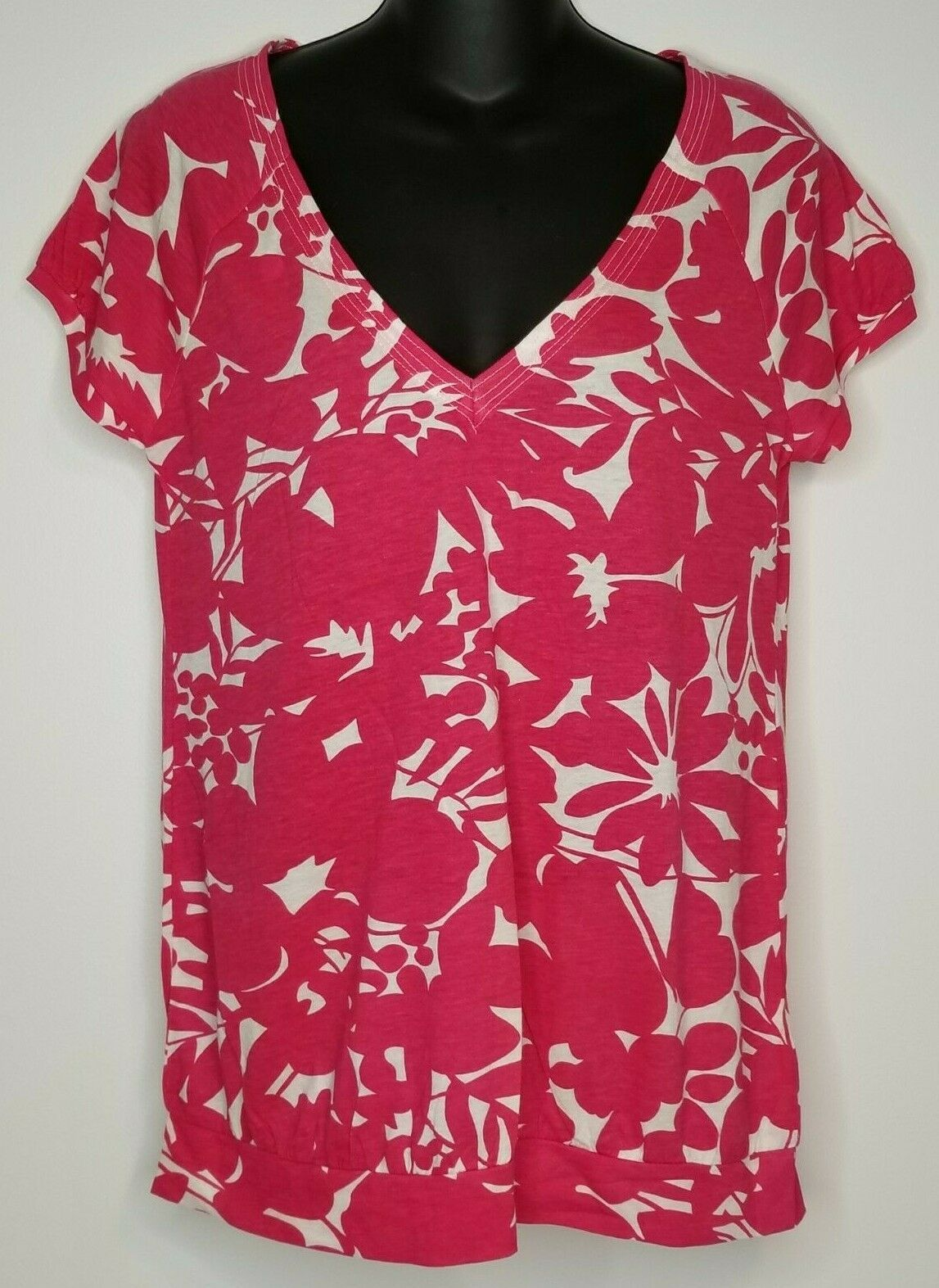Primary image for American Eagle Outfitters Womens Pink White Shirt Top Sz Large NEW Short Sleeve
