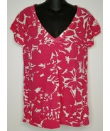 American Eagle Outfitters Womens Pink White Shirt Top Sz Large NEW Short... - $17.99
