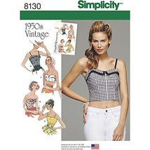 Simplicity Creative Patterns 8130 Misses' 1950's Vintage and Cropped Tops, D5 (4 - $13.48