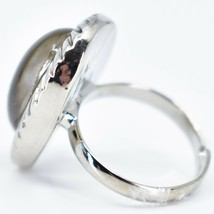 Scalloped Edge Silver Tone Oval Cabochon Color Changing Adjustable Mood Ring image 2