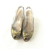 FRANCO SARTO Gold Leather Cork Wedge Heels Shoes Womens Size 6M - $19.46
