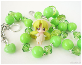 Bottle Fairy Necklace, Chiriri Figure Pendant on Lime Green Beaded Chain... - $26.00