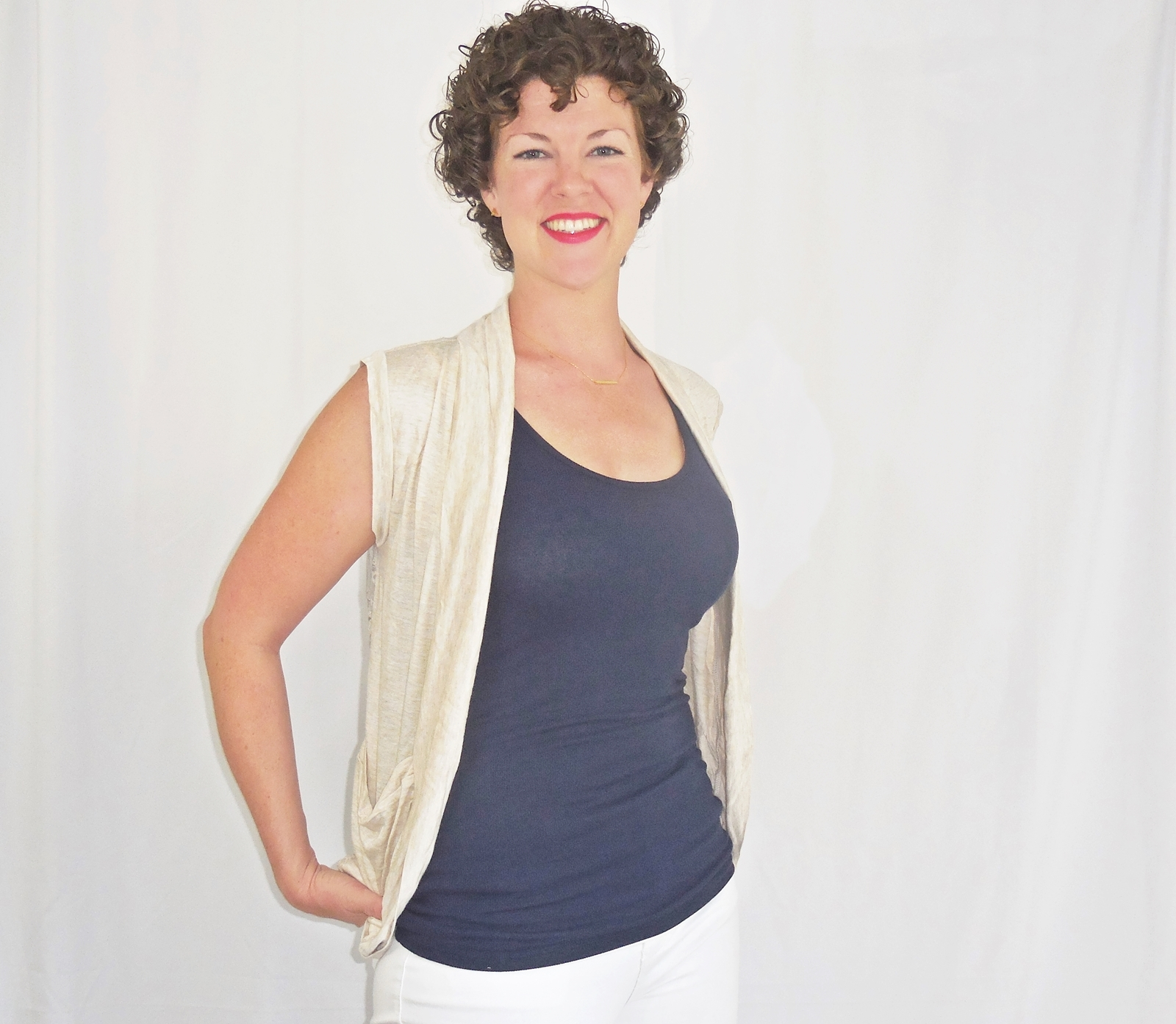 Beige Rayon Lace Back Vest, Lightweight Rayon Layering, Heather Beige Vest