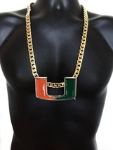 Miami Hurricanes Hurricane Canes Turnover Chain 14K GP Gold Necklace 3 D... - $65.44