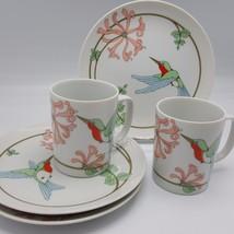 Fitz Floyd Variations Hummingbird Salad Dessert Plates Coffee Mugs lot 5... - $34.99