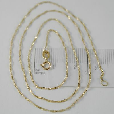 18K YELLOW GOLD MINI SINGAPORE BRAID ROPE CHAIN 16 INCHES, 1 MM, MADE IN ITALY