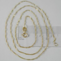 18K YELLOW GOLD MINI SINGAPORE BRAID ROPE CHAIN 16 INCHES, 1 MM, MADE IN ITALY  image 1