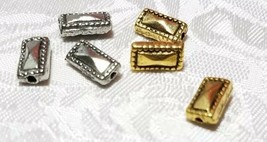 3pcs. Rectangular Beaded Edge Fine Pewter Beads  - 9.5x5.5x3mm Hole 1.5mm image 1