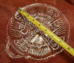 Vintage Divided Condiment Dish Double Handle Pressed Glass Fleur De Lis Pattern image 6