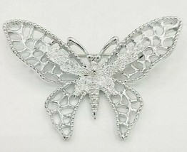 """Sarah Coventry """"Madame Butterfly"""" Vintage Brooch Pin Silver Tone 2 1/2"""" - $6.92"""