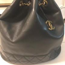 Auth CHANEL Shoulder Bag Black Matelasse Vintage Logo Quilted Drawstring... - $1,178.10