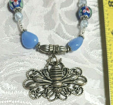 """Bee on Flower Pendant Lampwork and Milky Blue Glass Beaded Necklace 21""""  (#24) image 4"""