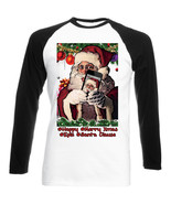 SANTA CLAUSE CHRISTMAS SELFIE - NEW BLACK SLEEVED BASEBALL COTTON TSHIRT - $27.51