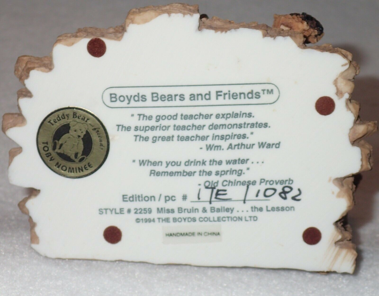 Boyd Bearstone Resin Bears Miss Bruin & Bailey The Lesson Figurine #2259 17E image 5