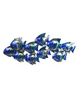 BEAUTIFUL UNIQUE blue NAUTICAL SCHOOL OF FISH CONTEMPORARY METAL WALL ART - $64.53
