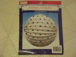HANGING PAPER LANTERN PATRIOTIC 4TH OF JULY RED WHITE BLUE STARS NEW - $4.08