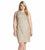 NWT CALVIN KLEIN BEIGE ANIMAL PRINT CAREER SHEATH DRESS SIZE 24 W WOMEN ... - $34.99