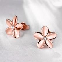 18k rose gold GF flower stud ladies earrings Made with Swarovski  #BO05 - $9.79