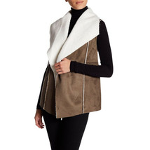 SUSINA Faux Shearling & Faux Suede Vest, Olive Tamac-Ivory, Small - $14.84