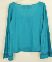 Free People top SZ S turquoise teal beaded long bell sleeves hippie boho gypsy image 9