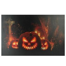 "Northlight Jack-O-Lanterns Cemetery Halloween LED Canvas Wall Art 23.5"" ... - $19.59"