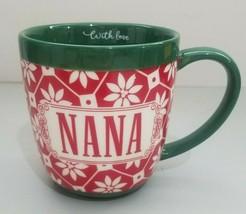 Hallmark With Love Nana Coffee Mug Cup Red Green White Floral Holiday - $14.54