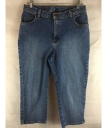 Lee Woman's Denim Blue Jean Carpi Crop Jeans Size 14 P Cotton Blend Wais... - $17.77