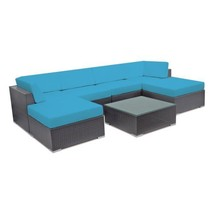 Outdoor Sun Lounge Patio Wicker Sectional Sofa Set Pool Side Couch Ottom... - €771,85 EUR