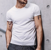 Summer men's short-sleeved T-shirt solid color simple White - $56.00