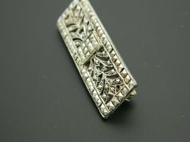 Art Nouveau Style Faux Marcasite Silver Tone Floral Pin Brooch Vintage image 3