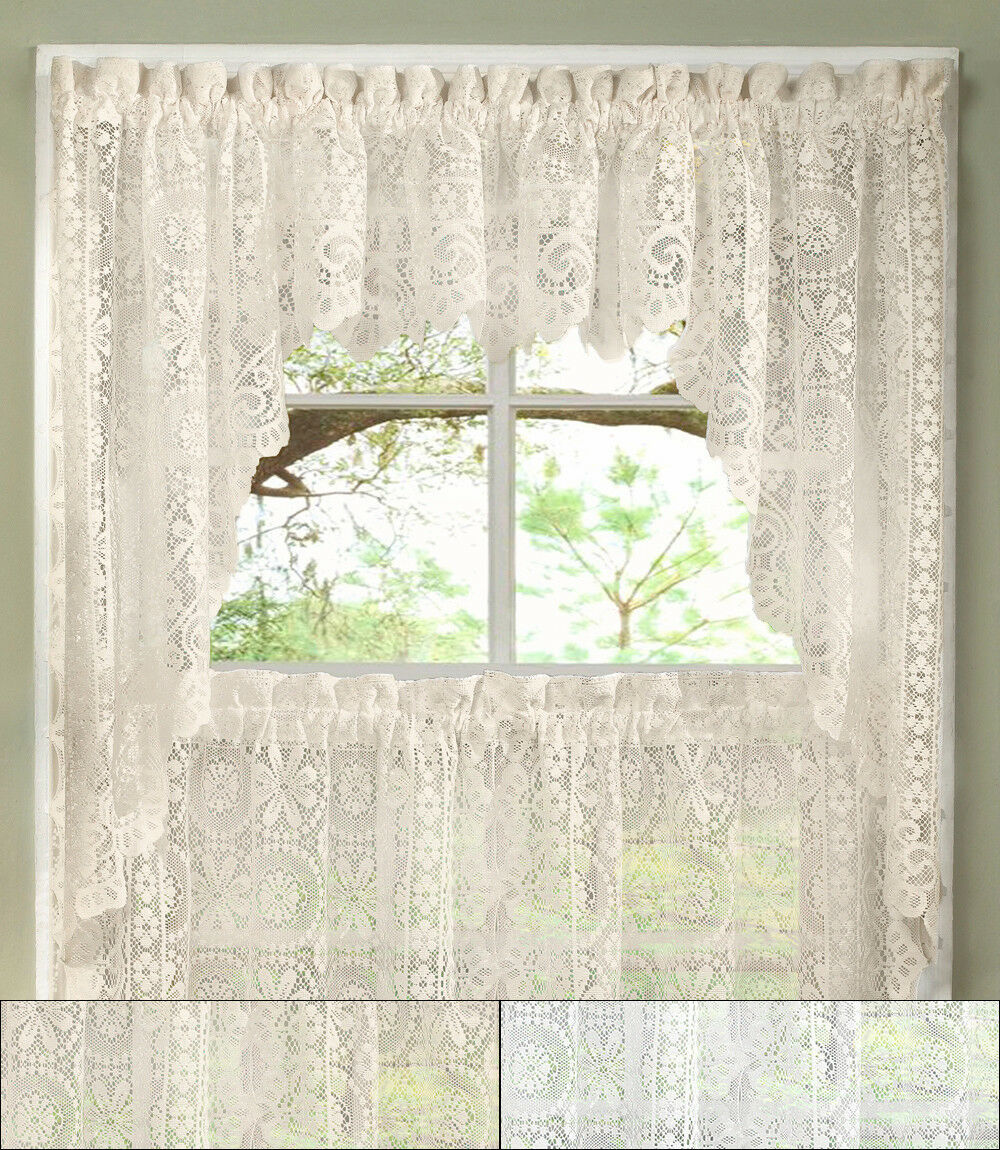 Primary image for Hopewell Heavy Floral Lace Kitchen Window Curtain Swag Pair