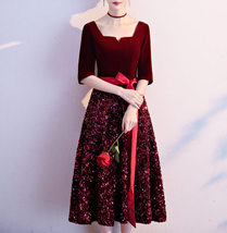 Burgundy Wine Red Half Sleeve Velvet Midi Dress High Waist Bridesmaid Midi Dress image 1