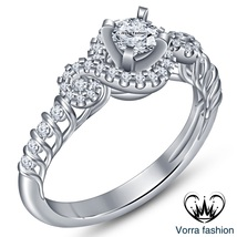 Round 925 Silver Cut Cz White Gold Plated Solitaire W/ Accents Engagemen... - ₨4,803.96 INR