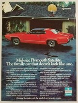 1972 Print Ad The '72 Mid Size Plymouth Satellite Red 2-Door - $12.73