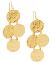 Kenneth Jay Lane 22K polished Gold tone hammered coins drop dangle Earrings - $68.31