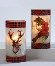 """7.87"""" Christmas Hurricane Tealight Candle Holder w Red Plaid Trim - Choice of 2 image 2"""