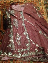 Vintage Burgundy Silk Indian Long Chiffon Vintage Gold Embroidered Maxi ... - $94.05