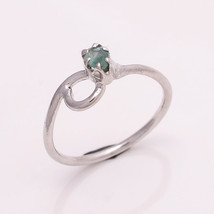 NATURAL EMERALD 4*3 MM OVAL 925 STERLING SILVER 5.5 US RING - £11.85 GBP