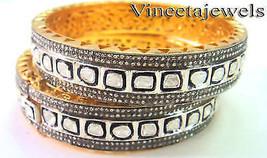 Amazing Antique Finish 10.85ct Pave Rose Cut Diamond Silver Bracelet Pai... - $1,895.00