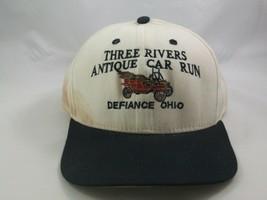 Three Rivers Antique Car Run Defiance Ohio Hat Beige Black Snapback Baseball Cap image 2