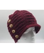 Red Flapper hat, buttoned cloche, merino/alpaca blend, garnet heather, w... - $35.00