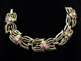 "Coro Rhinestone Flower Vintage Bracelet Purple Pink Blue Yellow Goldtone 6 1/2"" - $34.99"
