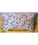 """Travel Pillow 17""""x11 New Made in USA Paw Print Bones Dog Puppy Great Gift - $4.94"""