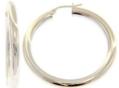 18K WHITE GOLD ROUND CIRCLE HOOP EARRINGS DIAMETER 30 MM x 4 MM, MADE IN ITALY