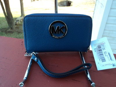 d2d5ffaf1a4a 1. 1. Previous. Michael Kors Fulton Large Flat Multifunction Phone Case  Wallet Steel Blue NWT